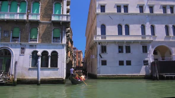 Thumbnail for Tourists Sailing on Gondola, Boat Tour Along Grand Canal in Venice, Italy Sights