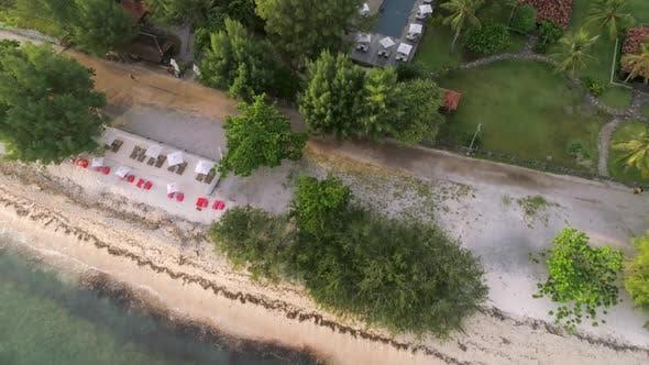 Thumbnail for Aerial view of swimming pool in luxury resort, Gili Trawangan island, Indonesia.