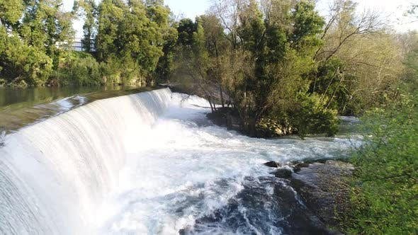 Thumbnail for Aerial View of Beautiful Waterfall at Spring Day