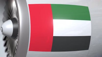 Aircraft Engine with Flag of the UAE