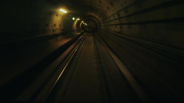 Thumbnail for View From the First Car in the Subway Tunnel