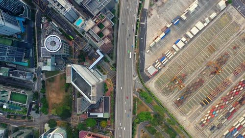 Aerial view 4k Footage of Highway in singapore.