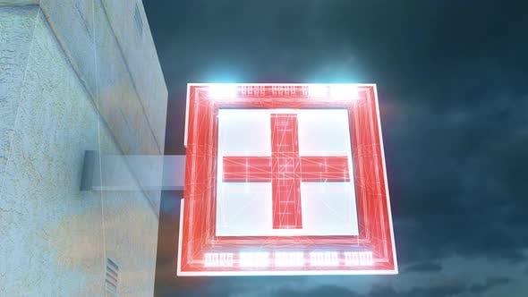 Digital Neon Pharmacy Sign 4k