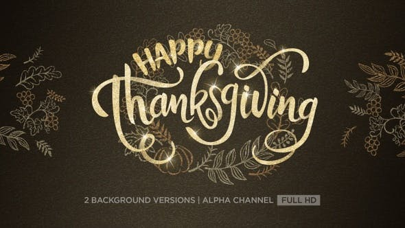 Thumbnail for Happy Thanksgiving Text Animation