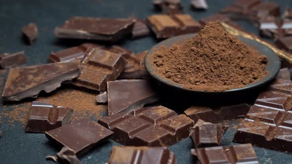 Thumbnail for Dark or Milk Organic Chocolate Pieces and Cocoa Powder on Dark Concrete Background