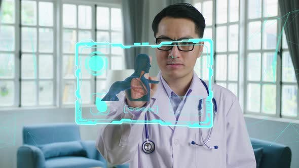 Doctor Using Augmented Reality, Animated 3D Human. High Tech Technologically Advanced Hospital