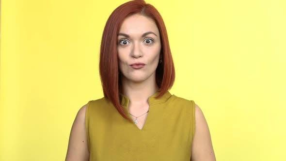 Thumbnail for Young Beautiful Woman Having Fun Shocked