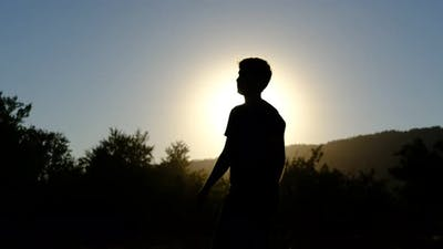 Silhouette Waving Man