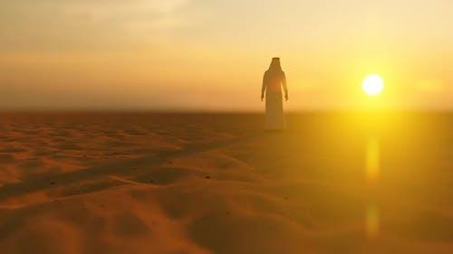 Arab Bedouin Lost in the Desert