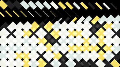 Abstract yellow, white, and black squares and rectangles