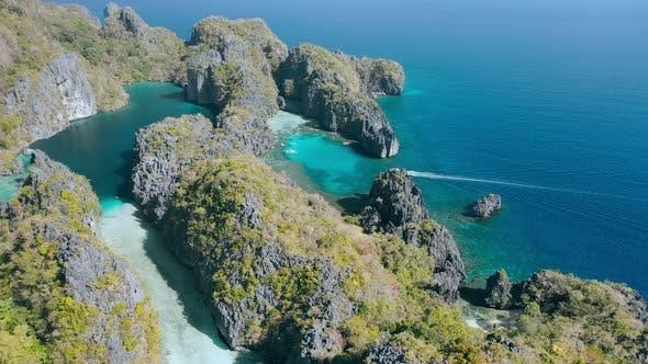 Thumbnail for Aerial View of Big and Small Lagoon on Amazing Miniloc Island. El-Nido, Palawan. Philippines