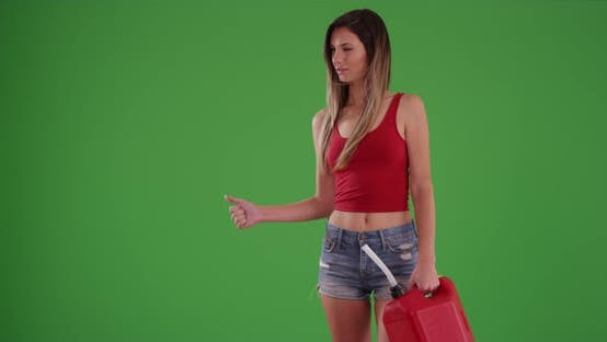Thumbnail for Woman ran out of fuel and is hitchhiking with a red gasoline can on greenscreen
