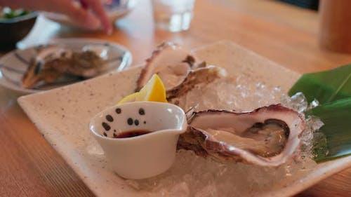 Raw fresh oyster in restaurant