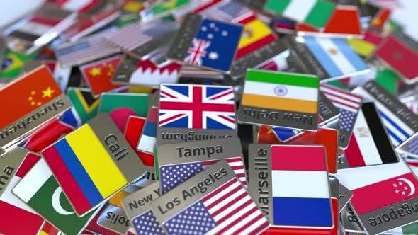 Thumbnail for Souvenir Magnet mit Canberra Text und Flagge