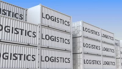 Containers with LOGISTICS Text