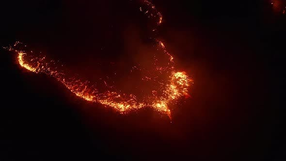 Thumbnail for Aerial View. Dangerous Fire in the Field. Night Fire, Natural Disaster.
