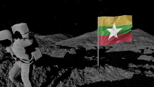 Astronaut Planting Myanmar Flag on the Moon