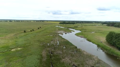 Aerial view of a small picturesque river in the countryside between a field and a forest