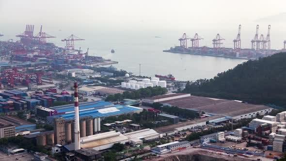 Timelapse Industrial Buildings in Port of Shenzhen