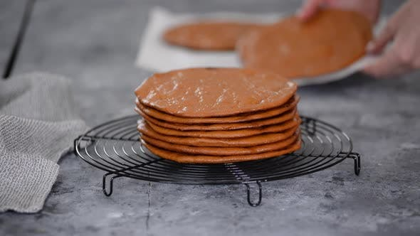 A Stack of Layers Cakes for Caramel Cake on Cooling Rack