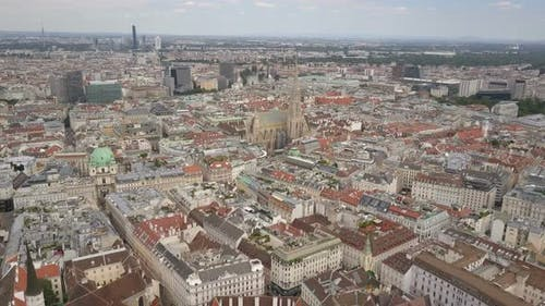 Vienna City Skyline Aerial Shot. AERIAL View of Vienna. Cathedrals and Cityscape City of Vienna