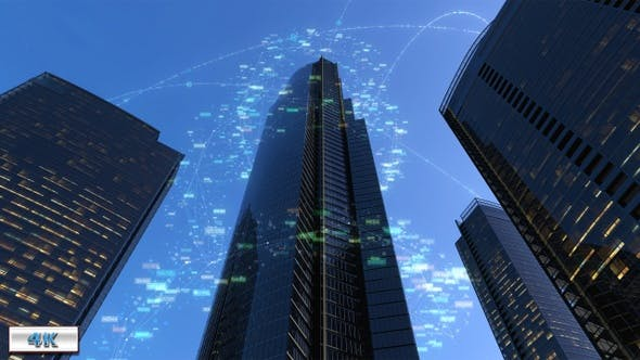 Thumbnail for City Buildings With Digital Data 4K