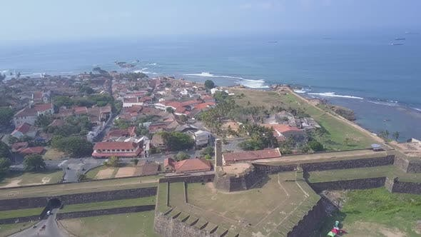 Galle Fort with Wall and Ground Near Town and Azure Sea