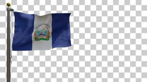 Abidjan City Flag on Flagpole with Alpha Channel