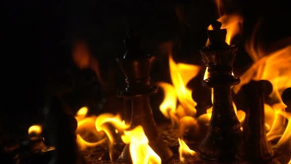 Thumbnail for Chess Pieces Catching Fire