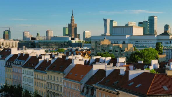 Thumbnail for Panoramic View on City Buildings in Center of Warsaw at Sunset