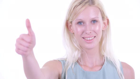 Thumbnail for Face of Happy Young Blonde Woman Giving Thumbs Up