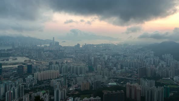 Thumbnail for Hong Kong Urban Cityscape Aerial Skyline Panorama Timelapse at Day Pan Up