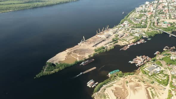 Thumbnail for View From a Quadcopter To the Construction Port with Equipment and the City. Construction Barge