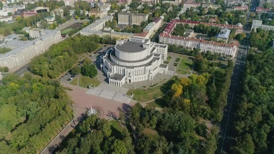 Thumbnail for Theatre of Opera and Ballet Top View in Minsk City, Belarus Cityscape Panorama