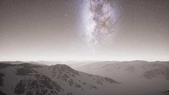 Milky Way Above Snow Covered Terrain