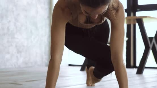 Thumbnail for Young Athletic Woman Doing Exercises on Floor