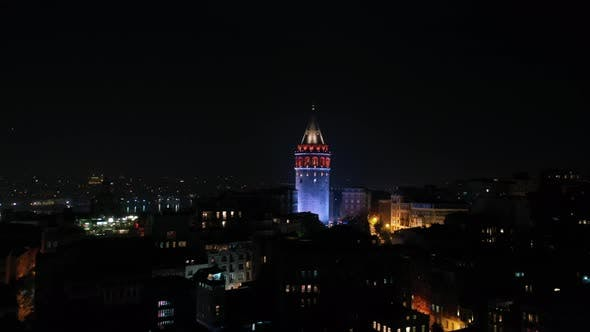 Cover Image for Golden Horn And Galata Tower Aerial View At Night