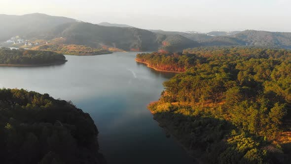 Thumbnail for Unique aerial view at sunset of awesome Tuyen Lam Lake Da Lat plateau Vietnam
