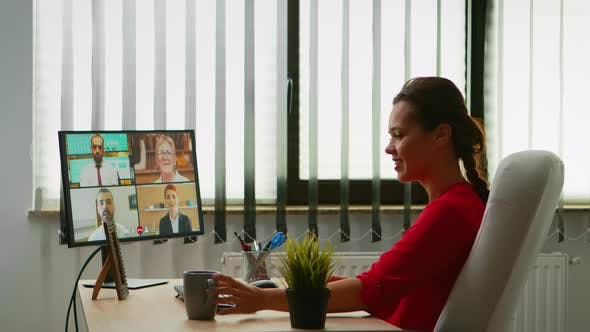 Business Person Discussing on Webcam