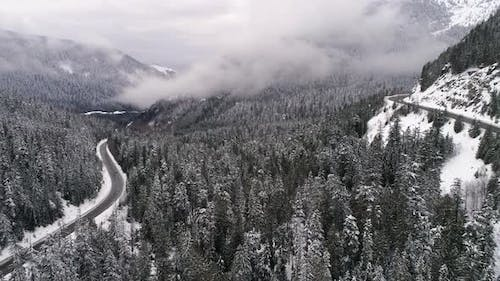 Mountain Forest Highway Loop Snowy Symmetry
