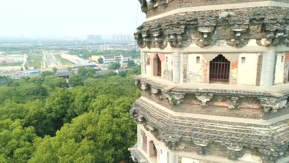 Aerial View of Leaning Yunyan Pagoda of Tiger Hill