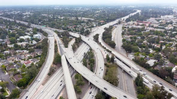 Thumbnail for Los Angeles. Aerial  View of a Motorway Crossings and Daytime Traffic