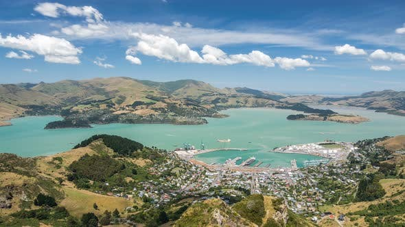 Thumbnail for Clouds over Lyttelton Harbour Bay in Beautiful New Zealand Landscape
