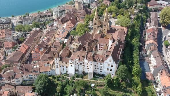 Thumbnail for Big Ancient Miracle Neuchatel Castle and Elegant Houses in the Center