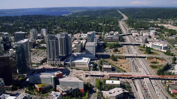 Thumbnail for Bellevue Washington Freeway And Building Construction Aerial