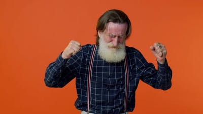Frustrated Elderly Bearded Man Screams From Stress Tension Problems Feels Horror Hopelessness Fear