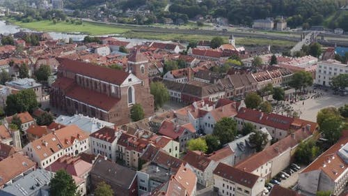 Kaunas City Cathedral in Old Town next to River Neman, Lithuania