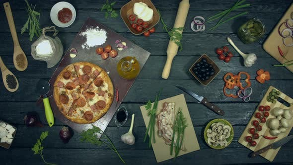 Thumbnail for Super Meat Pizza on Ecological Black Background