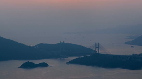 Thumbnail for Hong Kong Sunset Arial View Panorama Time Lapse China. Zoom Out