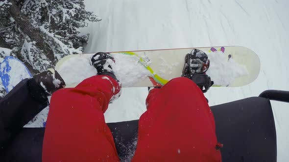Thumbnail for Riding Chairlift Looking Up From Snowboard
